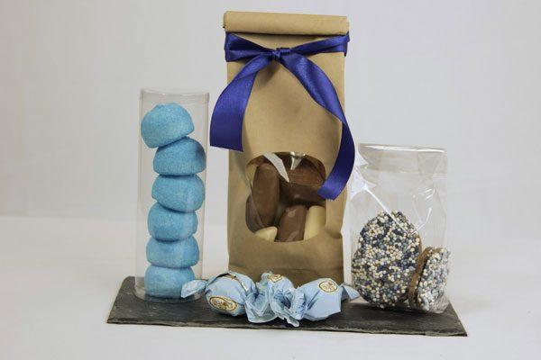 Geboorte chocolade blauw