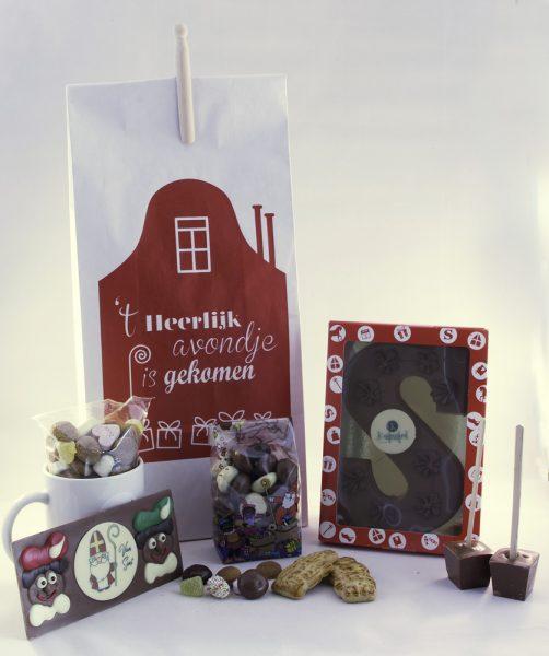 Witte Sinterklaas krat zak presentje