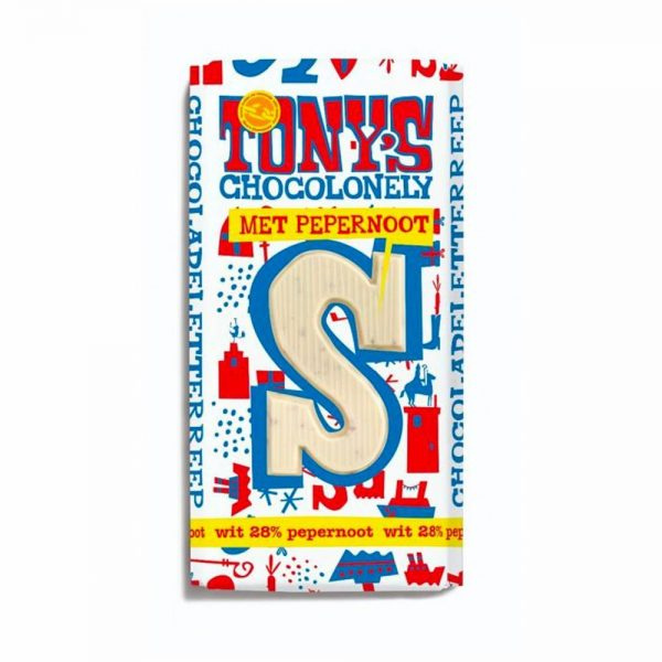 Tony's Chocolonely Witte chocoladeletter met pepernoot