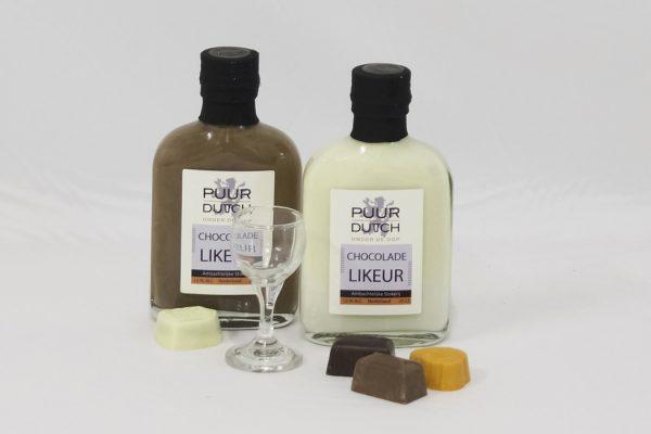 Melk chocoladelikeur en witte chocoladelikeur